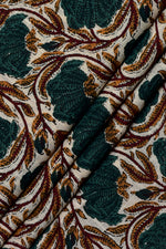 Dark Green Flower Print Cotton Fabric