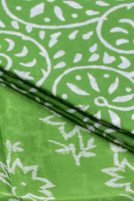 Green Flower Print Chanderi Silk Unstitched Suit Set with Chanderi Silk Dupatta