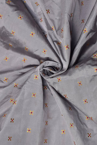 Grey with Red Butte Silk Fabric