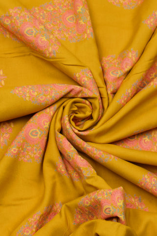 Yellow Flower Print Rayon Fabric