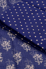 Blue Flower Print Cotton Suit Set with Kota Doria Duppatta
