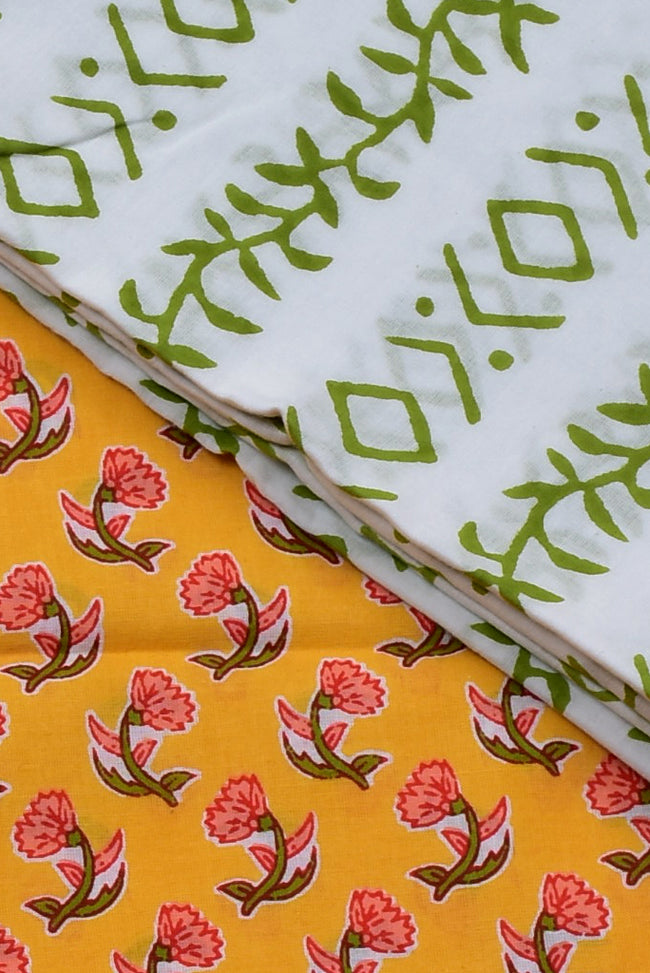 Yellow Flower Print Cotton Unstitched Suit Set with Chiffon Dupatta