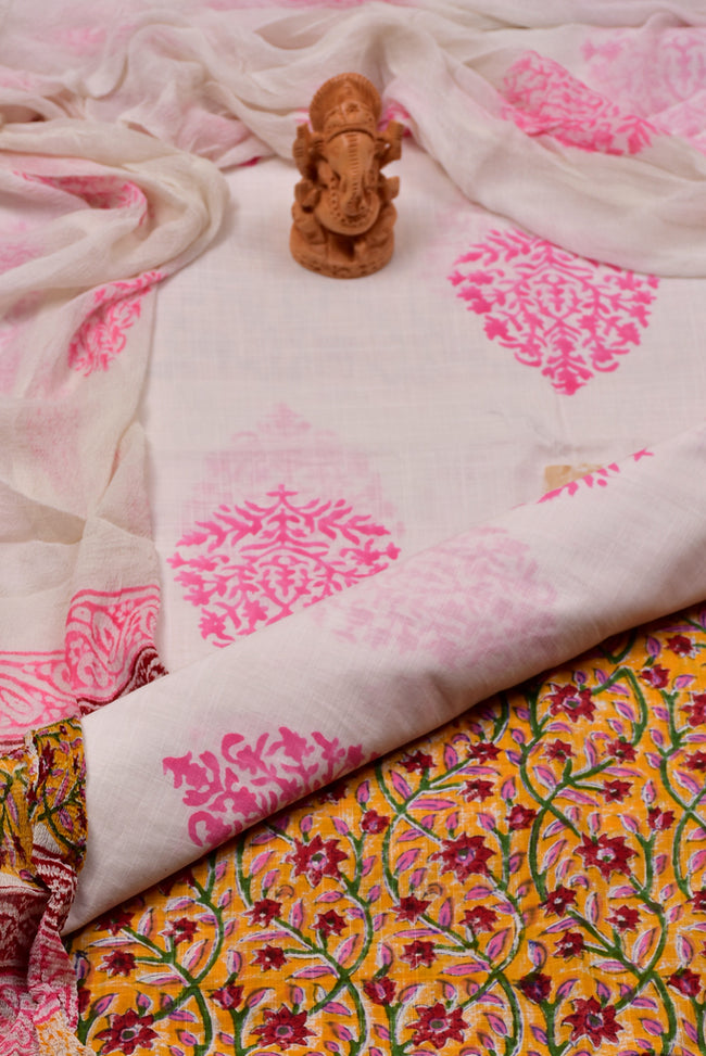 White Flower Print Cotton Unstitched Suit Set with Chiffon Dupatta
