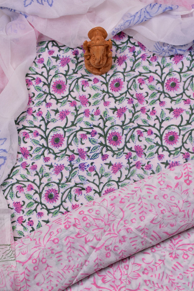 Pink White Flower Print Cotton Unstitched Suit Set with Chiffon Dupatta