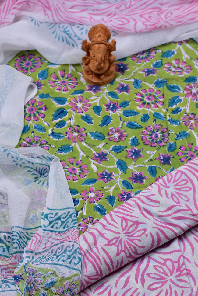 Green Flower Print Cotton Unstitched Suit Set with Chiffon Dupatta