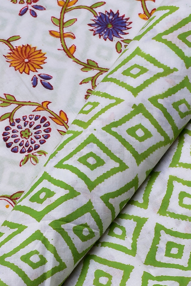 Green Square Print Cotton Unstitched Suit Set with Cotton Duppatta