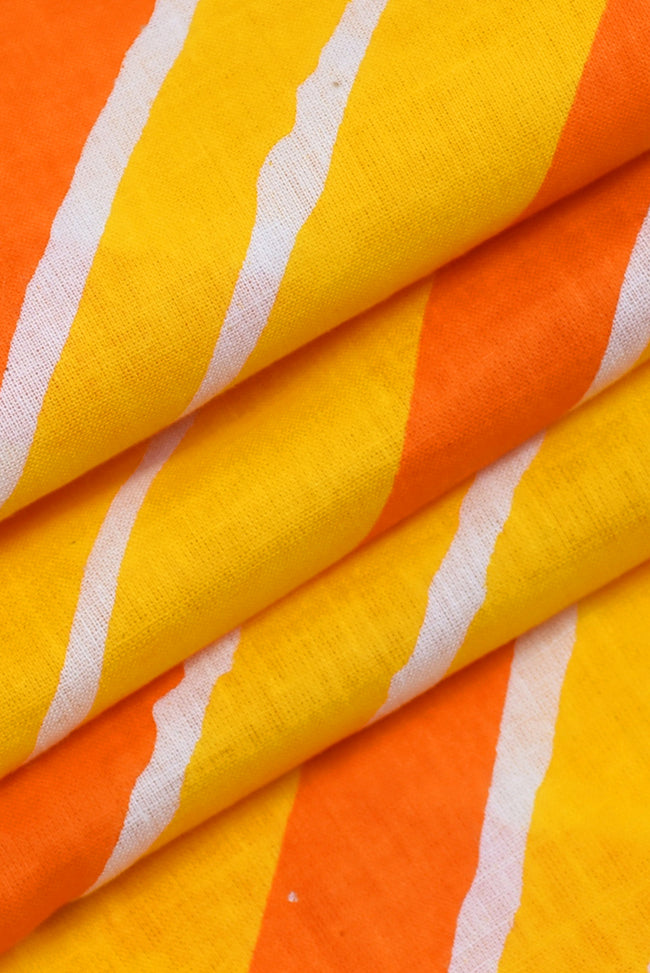 Yellow Orange Leheriya Cotton Fabric