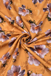 Yellow Flower Print Georgette Fabric