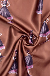 Brown Doll Print Cotton Satin Fabric