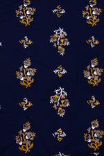 Navy Blue Flower Print Rayon Fabric