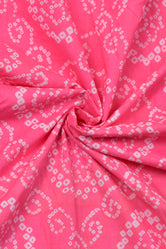 Baby Pink Cotton BhandhejPrint Cotton Fabric