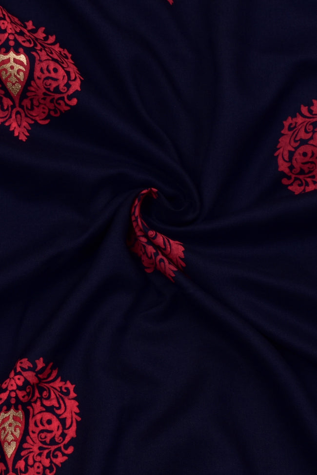 Navy Blue Gold  Flower Print Rayon Fabric