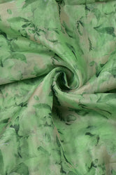 Green Soft Floral Digital Soft Organza Silk Fabric
