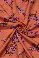 Orange Flower Print Digital Crepe Fabric
