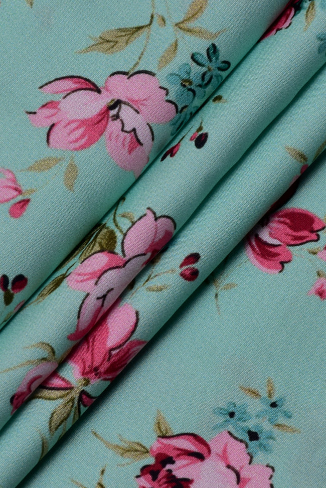 Light Green Flower Print Digital Crepe Fabric