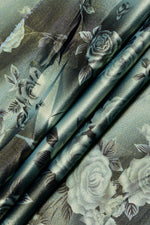 Gray  Flower Print Digital Crepe Fabric