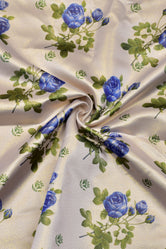 Cream Flower Flower Print Digital Crepe Fabric