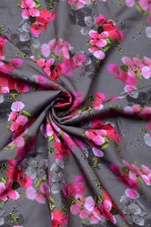 Gray & Pink Flower Flower Print Digital Crepe Fabric