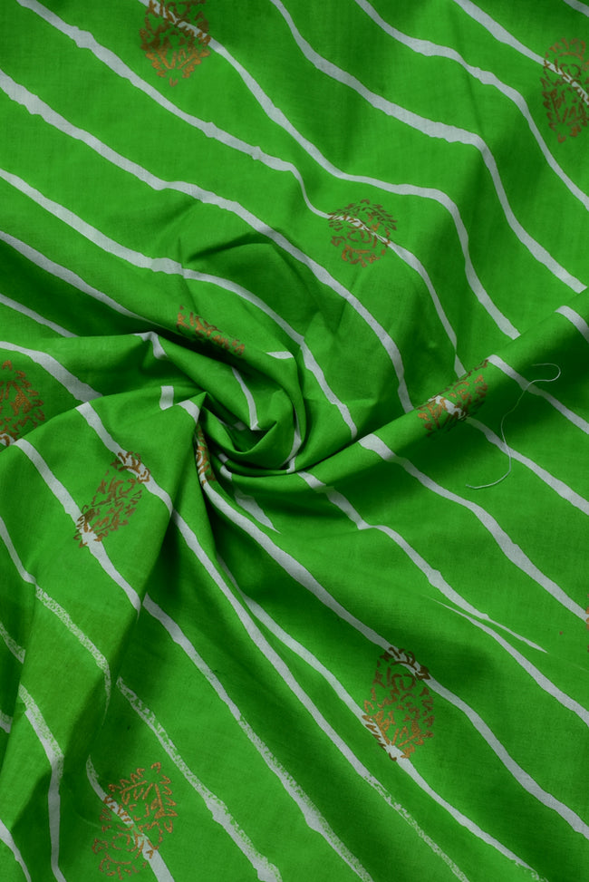 Green Leherya Strips Print Cotton Fabric