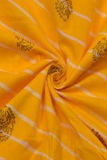 Yellow  Strips Print Cotton Fabric