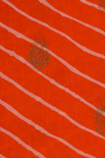 Orange Strips Print Cotton Fabric