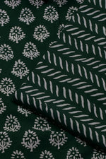 Green Flower Print  Cotton Suit Set with Cotton   Duppatta