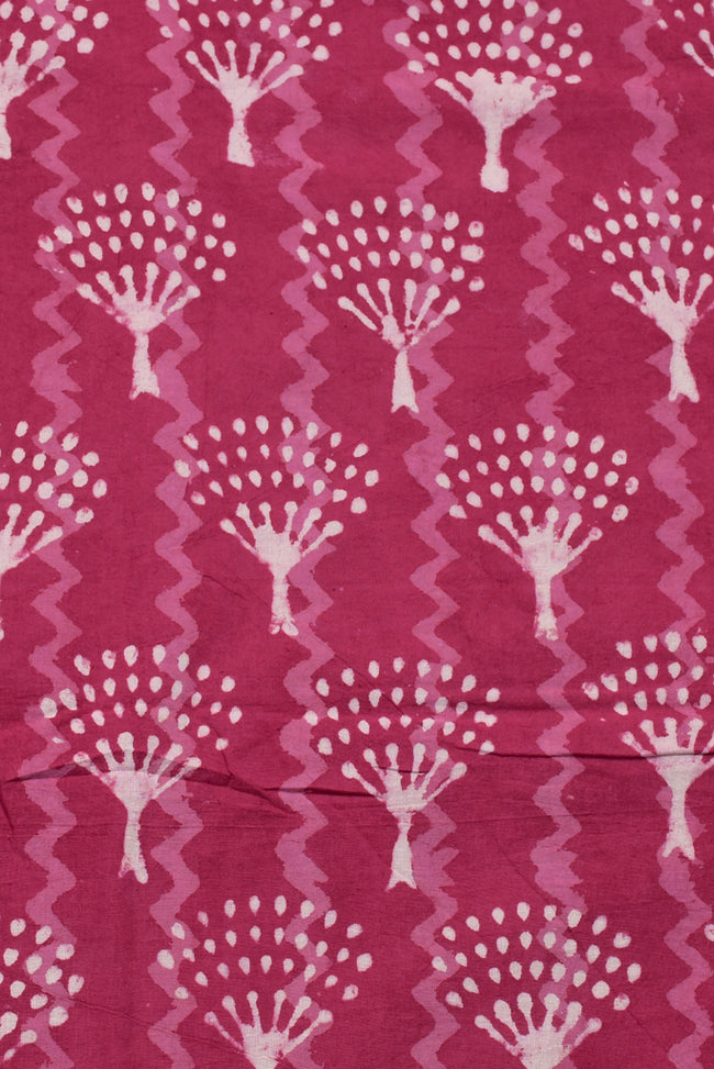 Pink Tree Print Cotton Fabric
