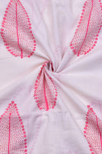 White & Pink Leaf Print Mal Cotton Fabric