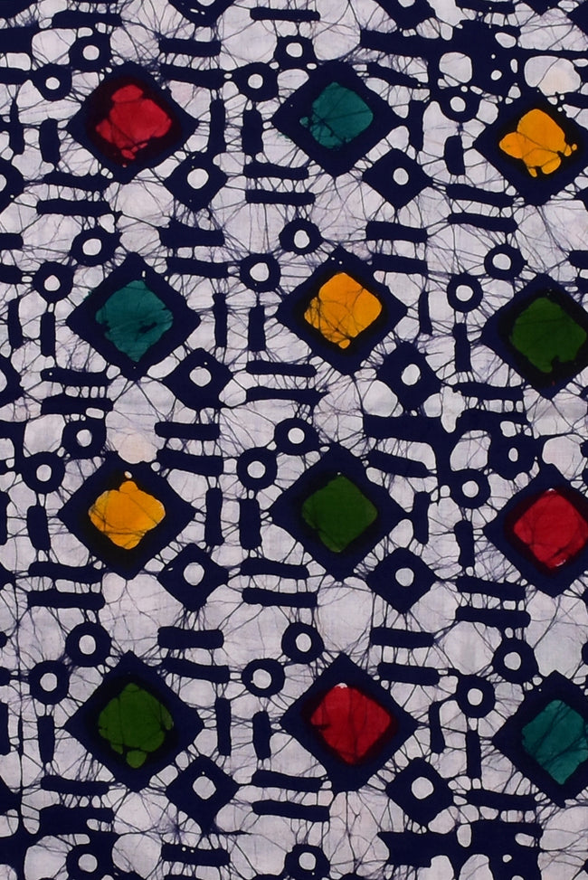 White Square Print Cotton Fabric