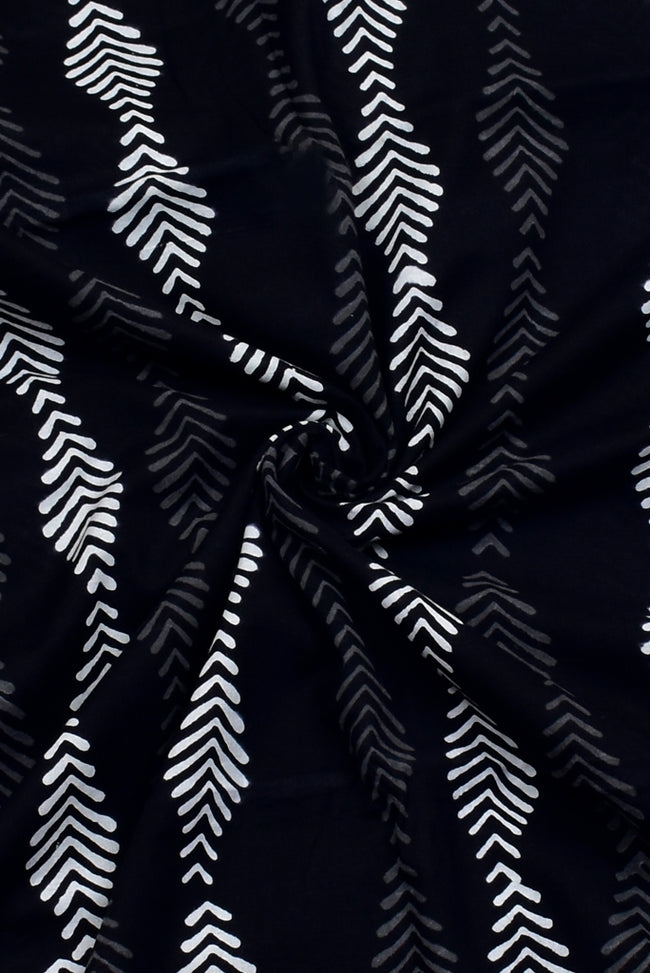 Black leaf  Print Cotton Fabric