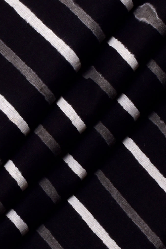 Black & White Strips  Print Cotton Fabric