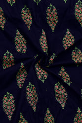 Blue Butta  Print Rayon Fabric