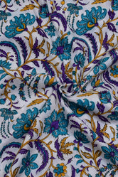 White Flower Print Rayon Fabric