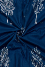 Blue Tree Print Rayon Fabric