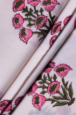 Pink Flower Print Rayon Fabric