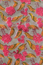 Gray Flower Print Rayon Fabric