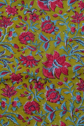 Green Flower Print Rayon Fabric