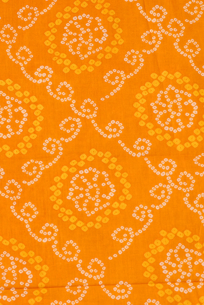 Yellow Musterd Bandhej Print Cotton Fabric