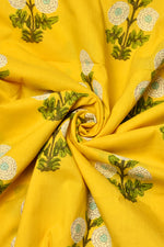 Mustered Flower Print Cotton Fabric