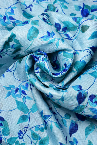 Blue Flower Print Kota Doria Fabric