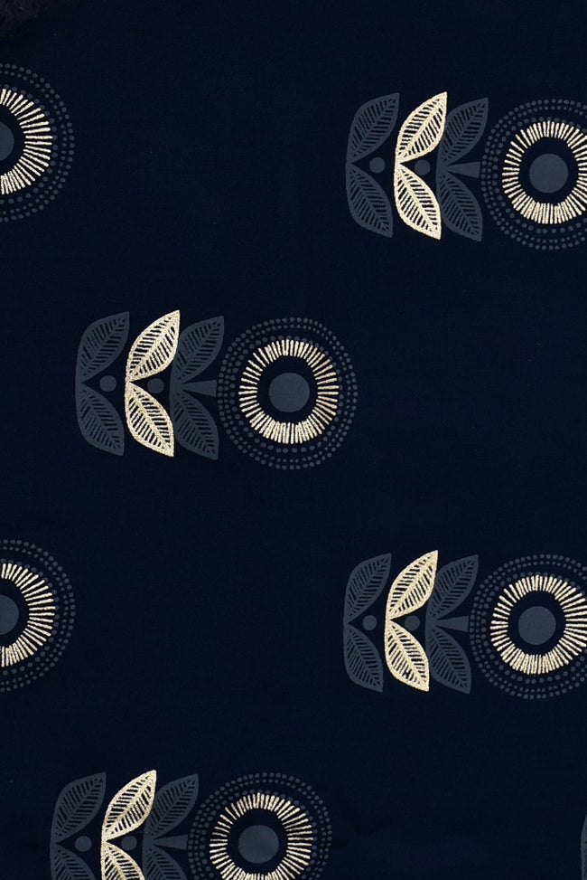 Navy Blue Cambric Gold Print Rayon Fabric