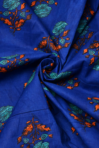 Blue Flower Print Cambric Cotton Fabric