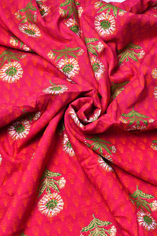 Pink Flower & Butta Print Cambric Cotton Fabric