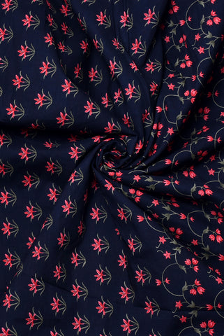 Navy Blue Flower Print Cambric Cotton Fabric