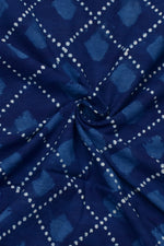 Blue Dot Print Indigo Cotton Fabric