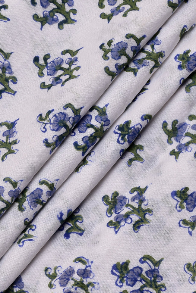 White Flower Print Cotton Fabric