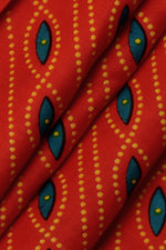 Orangish Red Dot Print Cotton Fabric