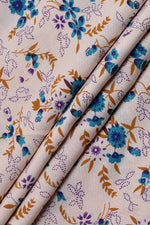 Cream Flower Print Cotton Fabric