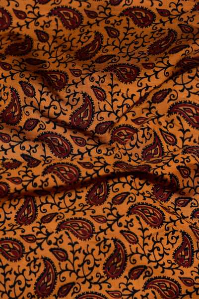 Orange and Red Paisley Pattern Cotton Fabric