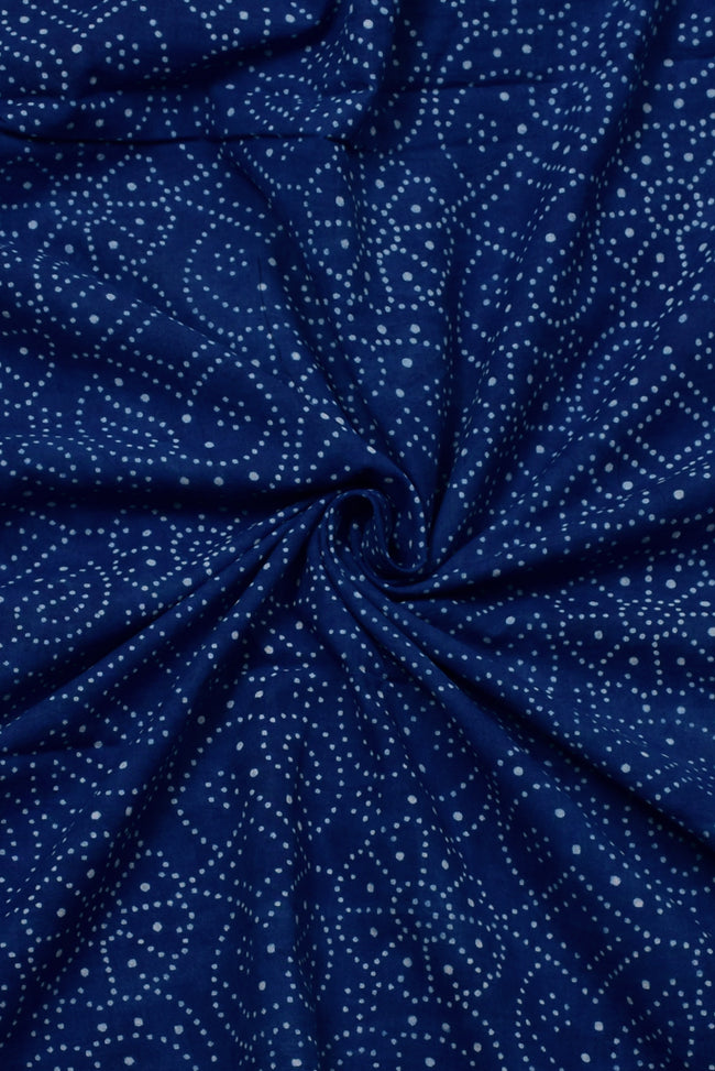 Blue Dott Print  cotton Fabric
